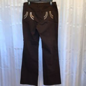 Tribal woman's size 10 embellished brown pants,